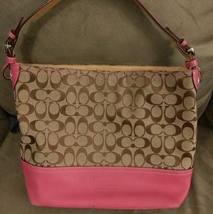 Coach pink leather & Jacquard fabric tote